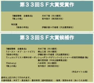 第33回「日本SF大賞」受賞作が発...